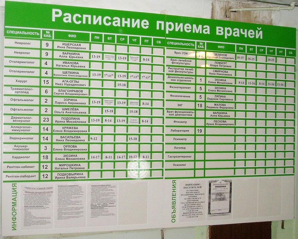 график работы детской поликлиники 33